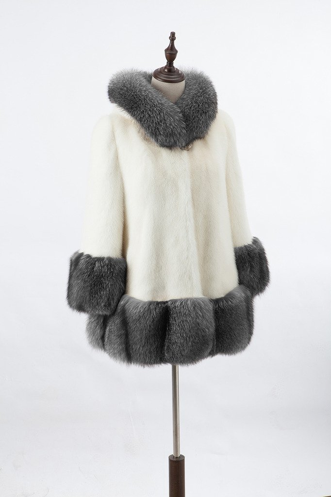 Lkous Women's Vintage Style Luxury Faux Fur Coat with Hooded Collar 3