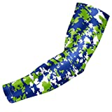 Bucwild Sports Compression Arm Sleeve - Youth & Adult Sizes - Baseball Football Basketball (1 Arm Sleeve - Blue & Green Digital Camo - Adult Large)