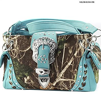 GoCowgirl Western Belt Buckle Concealed Carry Gun Weapon Handbag Purse Camo Camouflage