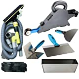 Delko Drywall Banjo Taping Tool with Hyde Dust-Dog Hand-held Dust-Free Vacuum Sander, OX Professional Finishing Knife Set and Stainless Steel Mud Pan (Color: Grey)