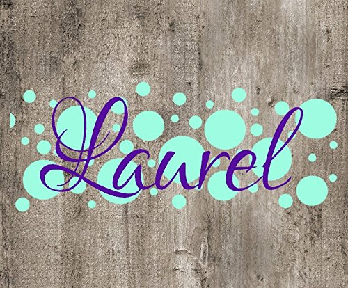 Polka Dot Background Name Decal. Choose the color and size. Perfect for car windows, Yeti cups, computer case, water bottle, etc.