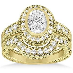 Allurez - Halo Diamant-Verlobungsring & Set 18k White Gold Armband Braut 0.64ct