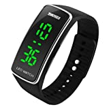 Gosasa 2015 Silicone Bracelet Digital LED Waterproof Boys Girls Sport Casual Wrist Watches ( Black )