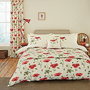 Sanderson Bedding, Persian Poppy Kingsize Duvet Cover Set, Red       Customer reviews and more information