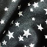Black Satin Fabric with Silver Foil Stars Per Metre