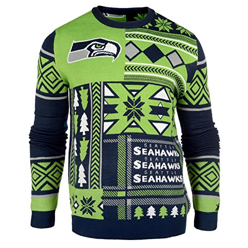 NFL-Seattle-Seahawks-Patches-Ugly-Sweater-Green-Small