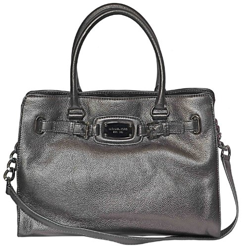 Michael Kors Gunmetal Leather Hamilton Large Ew Tote Handbag Shoulder Bag