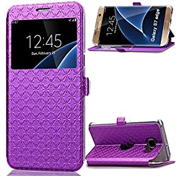 Galaxy S7 Case,Inspirationc® Smart Unlock Smart Touch Metal Answer Calls Folio Flip PU Leather Wallet Pouch Case with Stand for Samsung Galaxy S7 (2016)--Purple