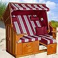 Strandkorb Ostsee BUW XXL bordeaux, Bezug bordeaux-natur gestreift, inkl. Kissen, LILIMO ® von LILIMO ® bei Gartenmöbel von Du und Dein Garten
