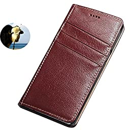 Moyooo Galaxy Note7 case, Personalized Genuine Leather case, Magnetic Closure, Bracket Function, Folio Design For Galaxy Note7 (Redbrown)