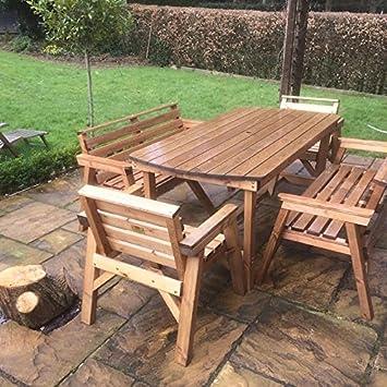 6' 2 bancos de mesa y 2 sillas. Muebles de jardín de madera maciza. * SUPER RESISTENTE *