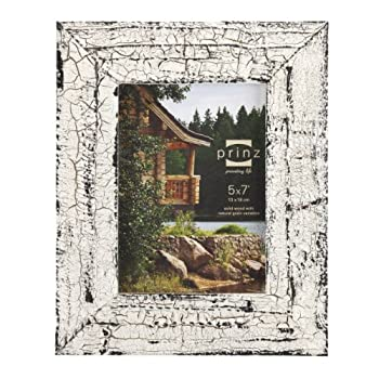 Prinz Birch Antique Solid Wood with Natural Grain Frame for 5 by 7-Inch Photo, White