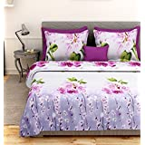 First Row Alluring Purple Printed Bedsheet With Two Pillow Cover