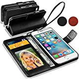 Samsung Galaxy S3 Mini i8190 - Premium Leather Wallet Flip Case Cover Pouch + Long Touch Stylus Pen + Mini Touch Stylus Pen + Screen Protector & Polishing Cloth (Wallet Black)
