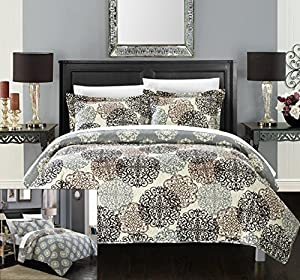 Chic Home 3 Piece Kelsie Boho Inspired Reversible Print Quilt Set, King, Beige