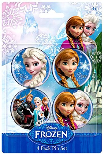 Disney Frozen 1.5 Inch Button 4-Pack Anna & Elsa