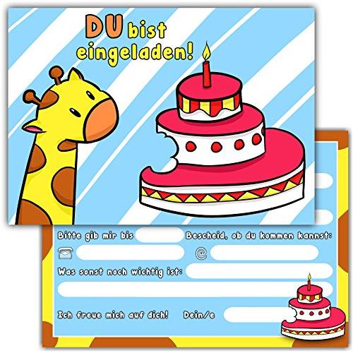 """10 Einladungskarten zum Kindergeburtstag """"Giraffe"""" // Geburtstagseinladungen Einladungen Geburtstag Kinder Jungen Mädchen Einladungstext 1. 2. Vorlagen Karten"""