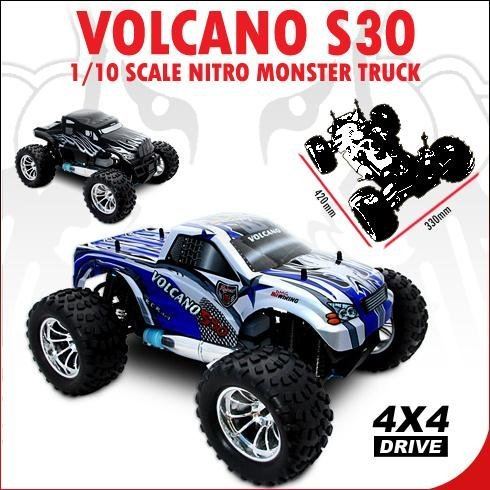 REDCAT RACING VOLCANO ~ NEW ~ RADIO CONTROL ~ S30 MONSTER TRUCK ~ 1/10 SCALE NITRO ~ BLUE