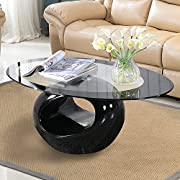 Mecor Black Oval Glass Coffee Table with Round Hollow Base-Modern End Side Coffee Table for Home Living Room Furniture