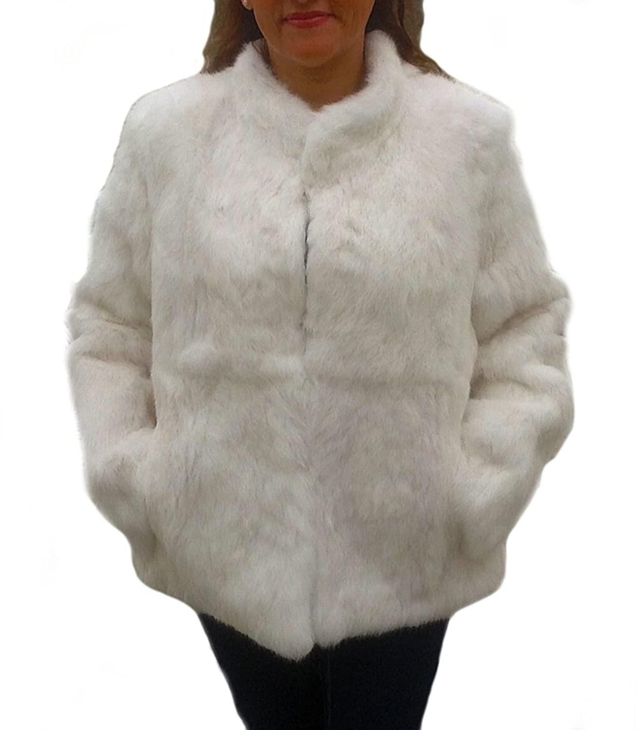 Alpacaandmore Damen Chinchilla Rabbit Pelzjacke Weiss
