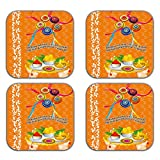 MeSleep Abstract Rakhi Wooden Coaster-Set Of 4 - B013LEL8HA