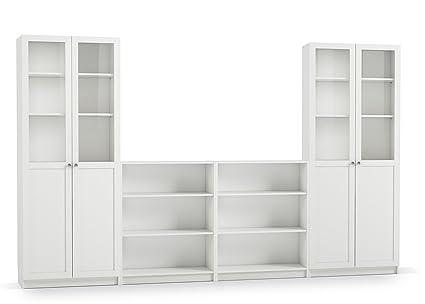 bibliothèque coloris blanc en MDF et verre - Dim : 200 x 320 x 27 cm -PEGANE-