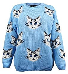 The Home of Fashion Womens Sky Blue Multi Cat Kitten Face Long Sleeved Chunky Knitted Jumper