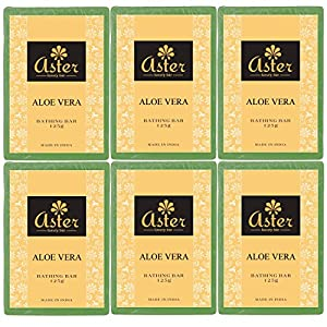 Aster Luxury Aloe vera Premium Handmade Bathing Bar - Set of 6 (125g each)