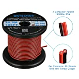 BNTECHGO 22 Gauge Flexible 2 Conductor Parallel Silicone Wire Spool Red Black High Resistant 200 deg C 600V for Single Color LED Strip Extension Cable Cord,Model,Lead Wire 100ft Stranded Copper Wire