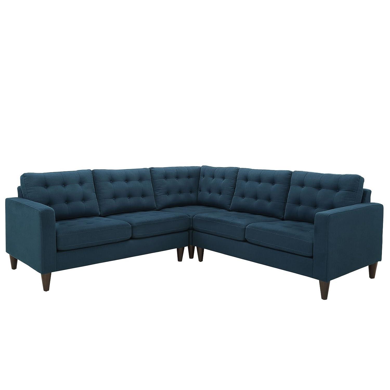 Empress 3 Piece Fabric Sectional Sofa Set - Azure