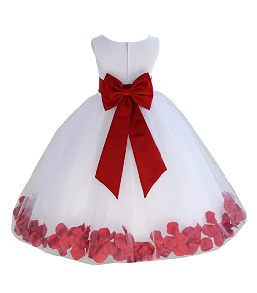 Wedding-Pageant-Flower-Petals-Girl-White-Dress-with-Bow-Tie-Sash-302a