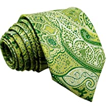Shlax & Wing Mens Ties Necktie Paisley Floral Lime Green Yellow 100% Silk Jacquard Woven
