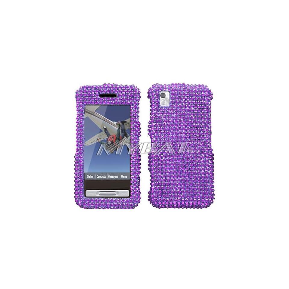 Purple Full Diamond Rhinestones Hard Cover Protector Faceplate Case for Metropcs Samsung Finesse R810