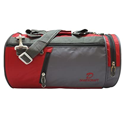 Donex Trendy 21 L Nylon Gym Travel Bag Red Grey available at Amazon for Rs 1eb086eb73b77