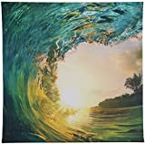 Luna Bazaar Fiji Pipeline Wave Photo Tapestry and Hanging Wall Art (Extra Large, 4.8 x 4.8 Feet, 100% Cotton)