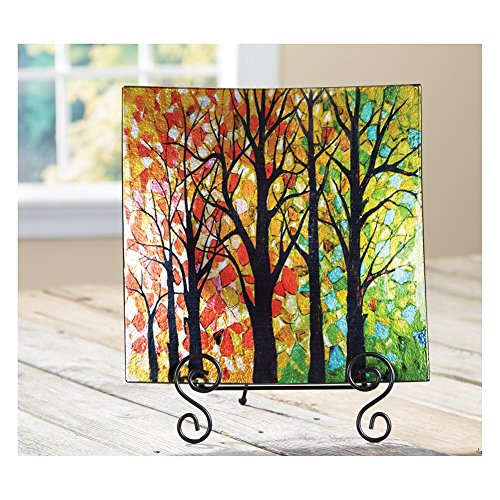 Colorful Walk In The Woods Decorative Glass Display Plate With Easel (Decorative Display Plates compare prices)