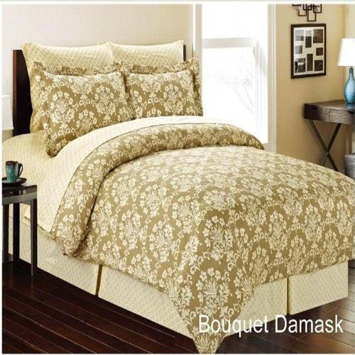Bouquet Damask 8 Piece Comforter Bed In A Bag Set Queen front-228351