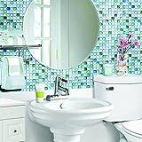 モザイクタイルシール キッチン 洗面所 トイレの模様替えに最適のDIY 壁紙デコレーション BST-2 サファイアブルー Sapphire blue 【 自作アートインテリア / ウォールステッカー 】