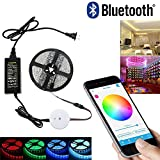 SJP Light® Bluetooth Smartphone App Controlled RGB LED Strip Light Kit,5M / 16.4FT IP65 300 LEDs Rope Light For iPhone, iPad, iWatch, Android and Amazon Fire Phones and Tablets (RGB)