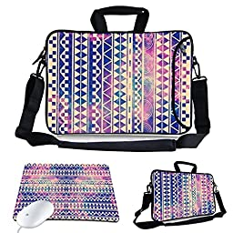 KTMORE 13-Inch Cute Colorful Tribal Stripe Design Waterproof Neoprene Laptop Sleeve Case Bag with Extra Side Pocket, Soft Carrying Handle & Removable Shoulder Strap + Soft Mouse Pad for 12.5 to 13.3 inch Laptop Chromebook Ultrabook Macbook Pro Air HP Dell