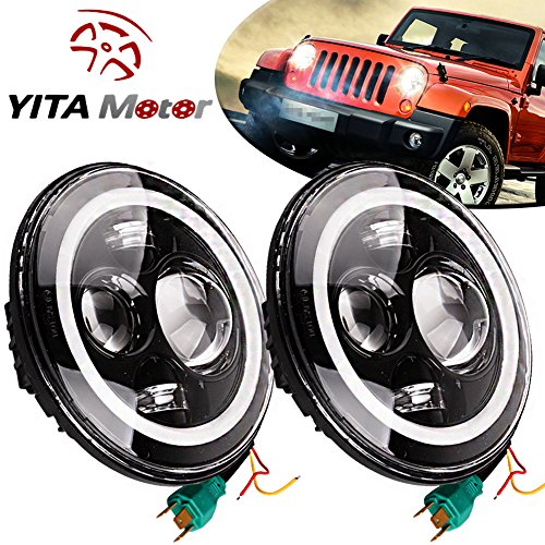 YITAMOTOR JK Jeep Wrangler 7 Inch 2 PCS Led Headlights with Halo Ring Angel Eyes for Jeep Wrangler JK LJ TJ CREE LED Bulbs Daymaker Replacement High Low Beam Lights for Motorcycle Harley Davidson (Hummer Shaped Speakers compare prices)