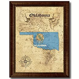 Oklahoma State Vintage Map Flag Art Custom Picture Frame Office Wall Home Decor Cottage Shabby Chic Gift Ideas, 18\