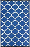 Fab Habitat Tangier Regatta Outdoor Rug, 4 by 6-Feet, Blue and White