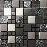piastrelle in vetro e acciaio cucina : Mattonelle a mosaico in acciaio inox e vetro, in nero e argento, 30 cm ...