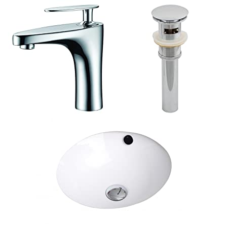 "Jade Bath JB-12935 16.5"" W x 16.5"" D CUPC Round Undermount Sink Set with Single Hole CUPC Faucet and Drain, White"
