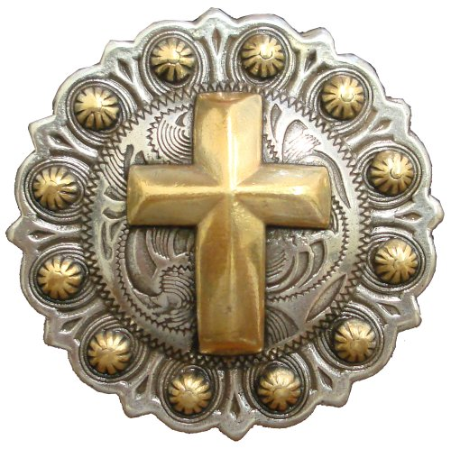 Western Antique Silver Concho Gold Cross, 1 1/2""