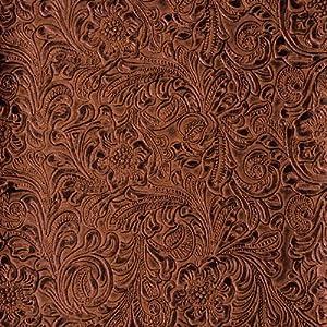 Tooled Leather Vinyl Fabric Laredo Color Turquoise Vinyl