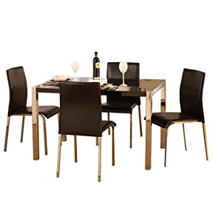 Charisma High Gloss Black Rectangular Dining Set       Customer review and more information