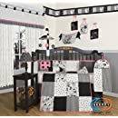 Boutique Beautiful Black White Flower Dot 13pcs Crib Bedding Set