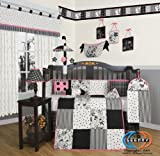 Boutique Beautiful Black White Flower &#038; Dot 13PCS CRIB BEDDING SET